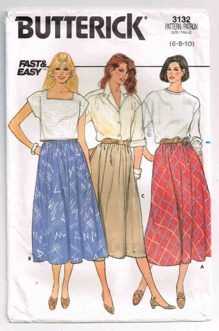 "Vintage, Butterick Pattern #3132, Misses' Slightly Flared Skirt, Sizes 6-8-10, Waist 23"", 24"", 25"" (58-61-64 cm), 2 Lengths, Elastic Waist by TheShoppingMoll on Etsy"