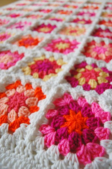 Bright Pink and Orange Patchwork Baby Granny Square Afghan - Tillietulip