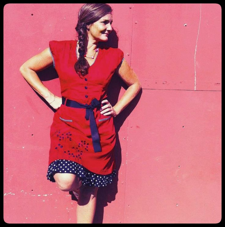 """Summer outfit of the day: Lovely artist Jeanette is wearing the Red """"Pang"""" dress. Made from 100% #organic, hand-printed cotton sateen. Check it out on the webshop"""