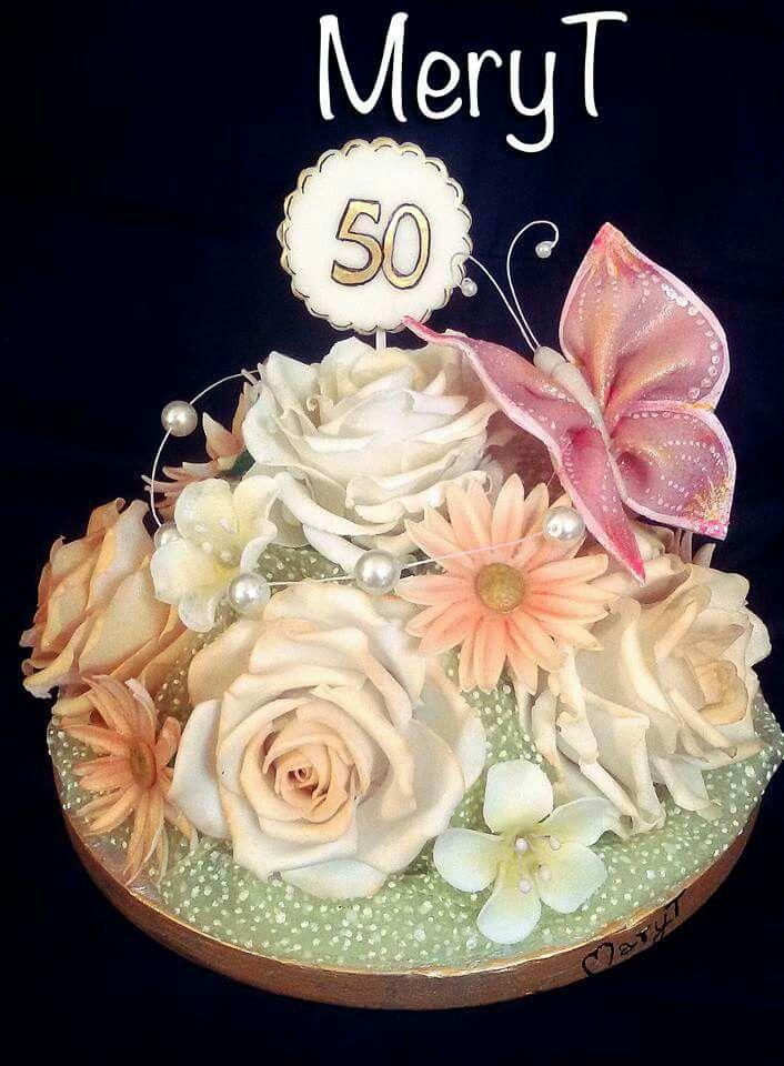 Cake topper fiori 50 anni in pasta di mais, porcelana Fria,cold porcelain
