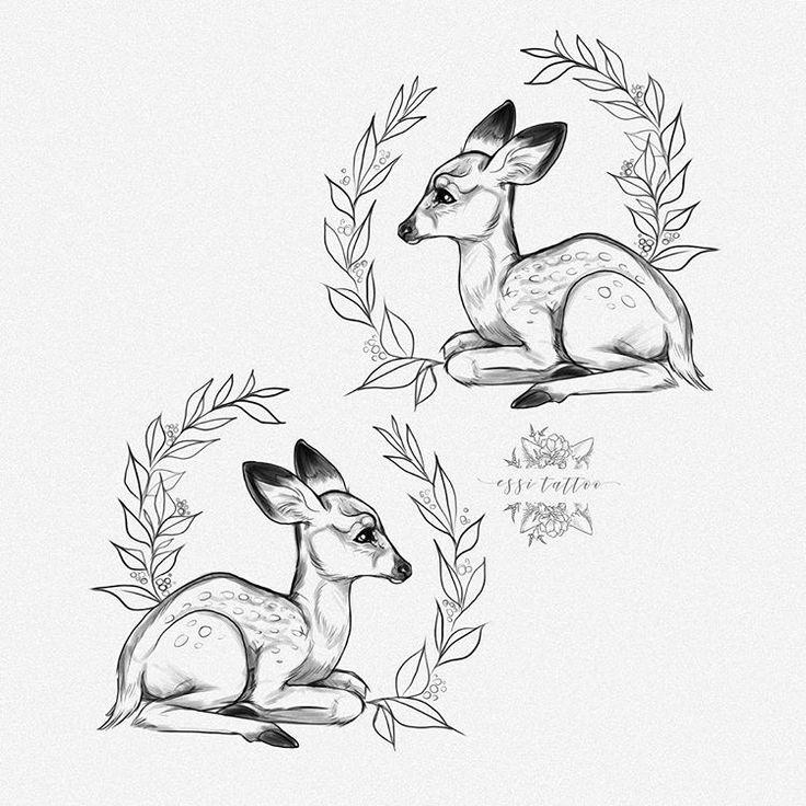 Baby deer by Essi Tattoo. Online store www.essitattooart.com #babydeer #fawns #deer #drawing #sketch #art #illustration #piirustus