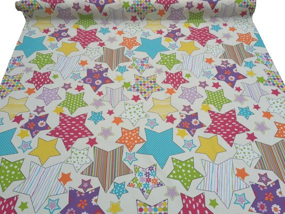 Multicoloured stars upholstery cotton ivory/cream kids bedroom curtains school nursery playroom fabrics cushions quilt covers fabric