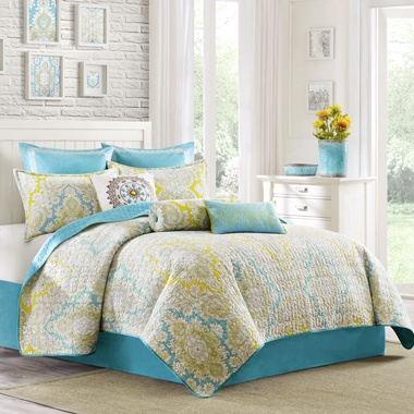Not A Fan Of The Bedding, But Loving The Turquoise, Yellow, Grey Color