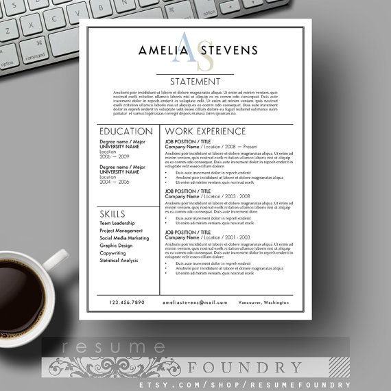 "ELEGANT Resume Template and Cover Letter for Word | MAC or PC | The ""Amelia"" 