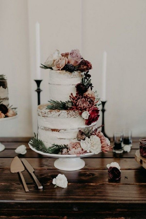 naked wedding cake with floral accents for fall 2019  – Fall Weddings