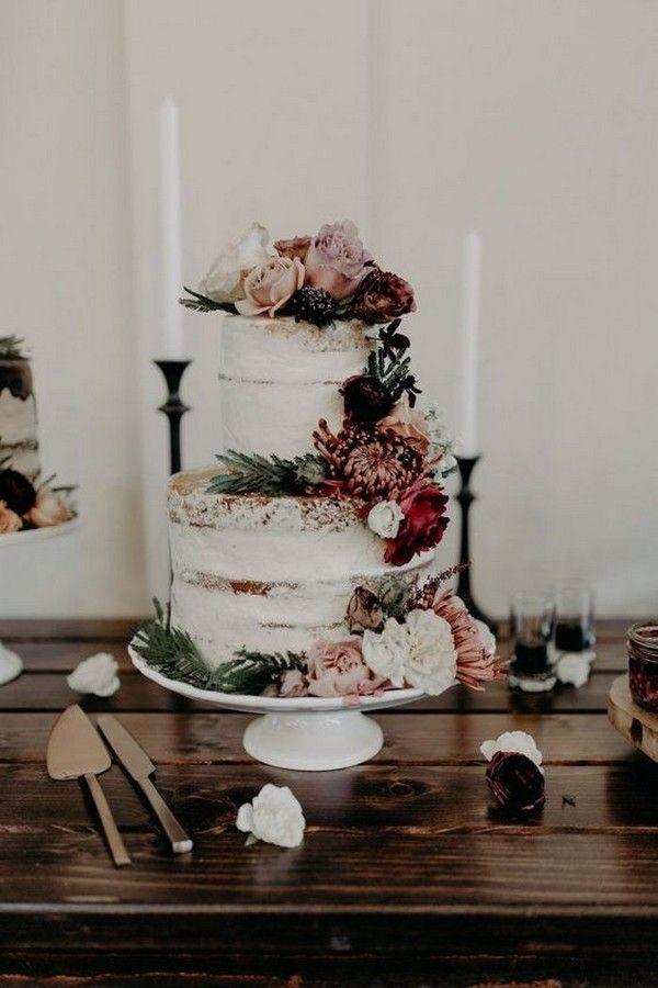 nackte Hochzeitstorte mit floralen Akzenten für den Herbst 2019   – Fall Weddings