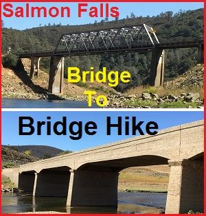 Low Folsom Lake levels allows a hike between the current Salmon Falls Bridge to the old concrete span along the historic Natomas Ditch on American River.