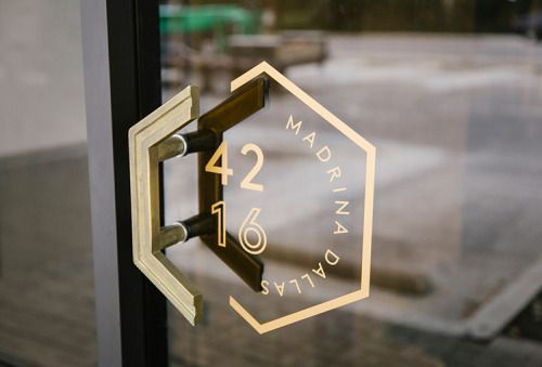 door handle signage hexagon combo.