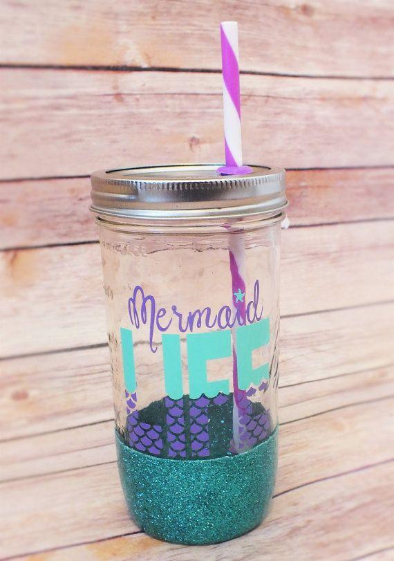 Mermaid Life mason jar tumbler// mason jar// by VinoAndVinylCo