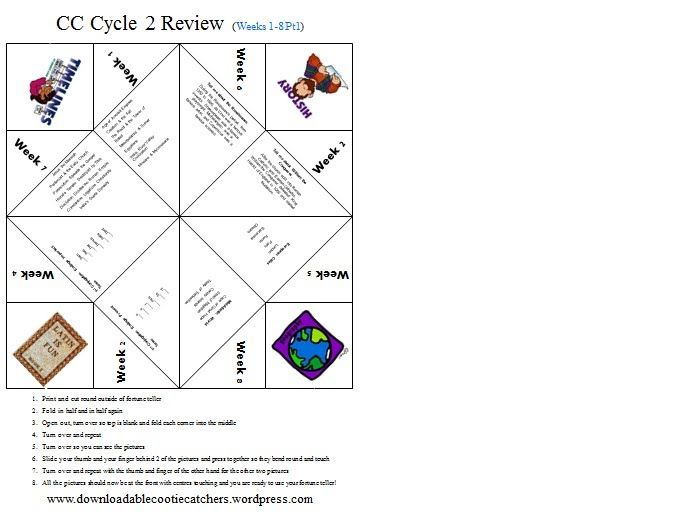 Fun paper fortune teller reviews four subjects in CC Cycle 2 at a time. There are 7 sheets for weeks 1-8. This is good for a cumulative review at home, not necessarily to use in class, but you could.