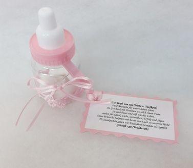 Gastgeschenk Babyfläschchen Taufmandeln, personalisiert mit Name, Datum + Mandelspruch (Erklärung Brauchtum der Taufmandeln) *blau oder rosa*   p1932