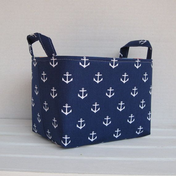 Storage and Organization  - White Anchors on Navy Blue - Fabric Organizer Bin Storage Container Basket via Etsy