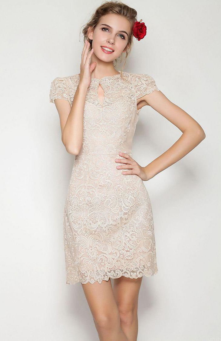 apricot short sleeve scallop lace dress