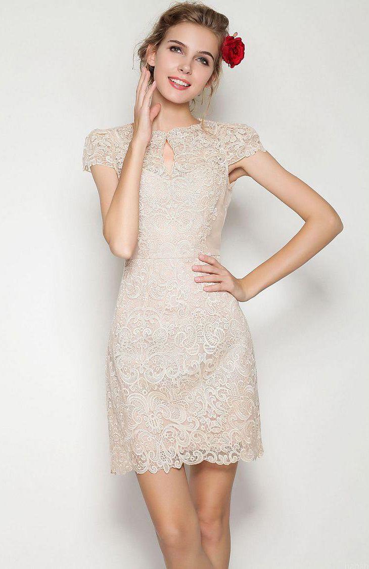 apricot short sleeve scallop lace dress