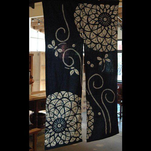Beautiful Japanese Noren, Indigo Blue Cotton Door Way Curtain, Dragonflies