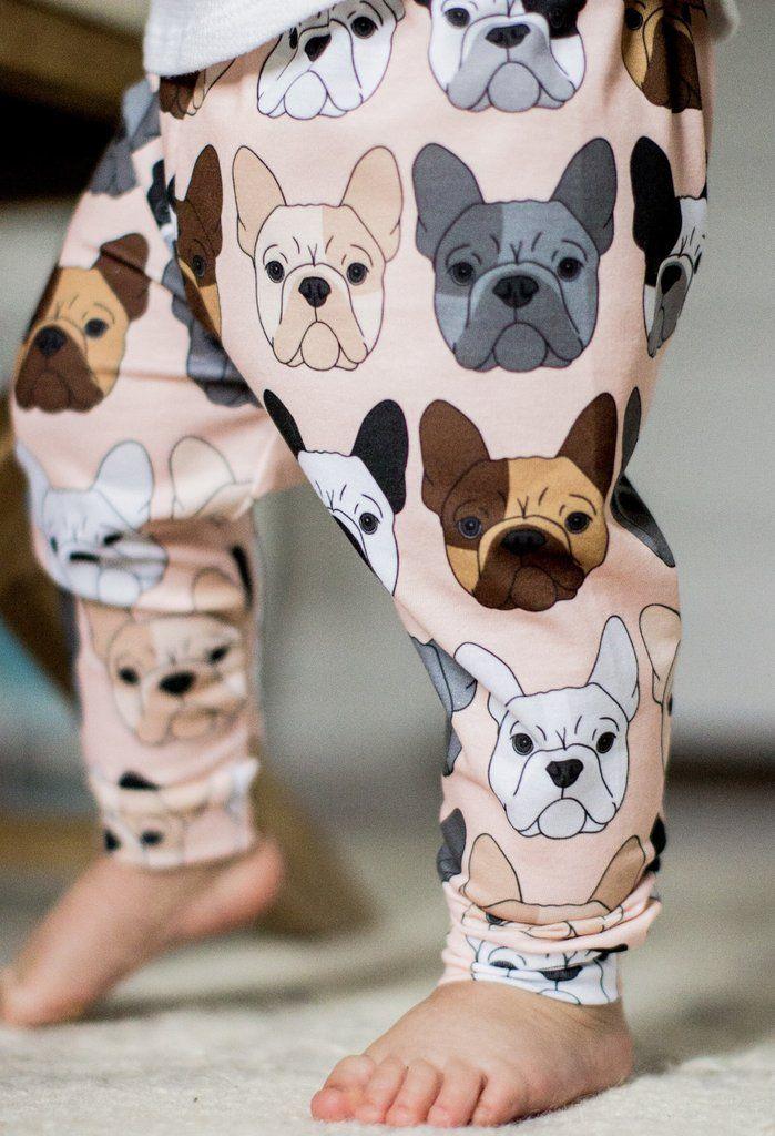 Peach French Bulldog Print Leggings www.babalusbylucy.com