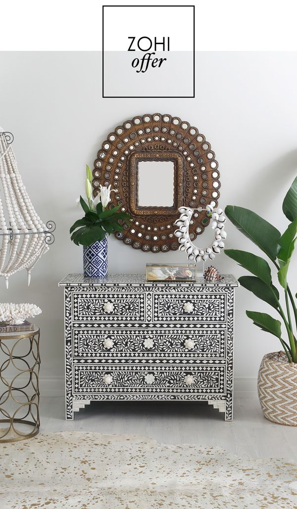 Fabulous vignette featuring bone inlet drawers and some tropical plants.  Coastal Tropical decor with a pinch of Boho.