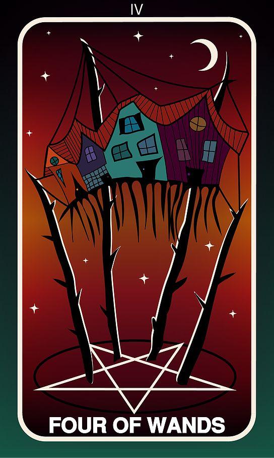 Tarot Card, Four of Wands  #wands #witch #gothic #illustration #tarotdeck #children #tales #city #adventure #magic
