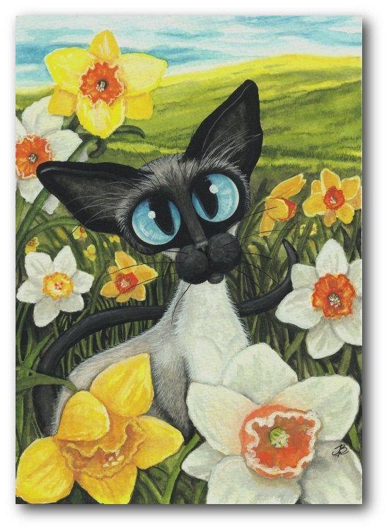 Daffodils Spring Easter Siamese Cat ArT 5x7 Print by AmyLynBihrle, $15.00