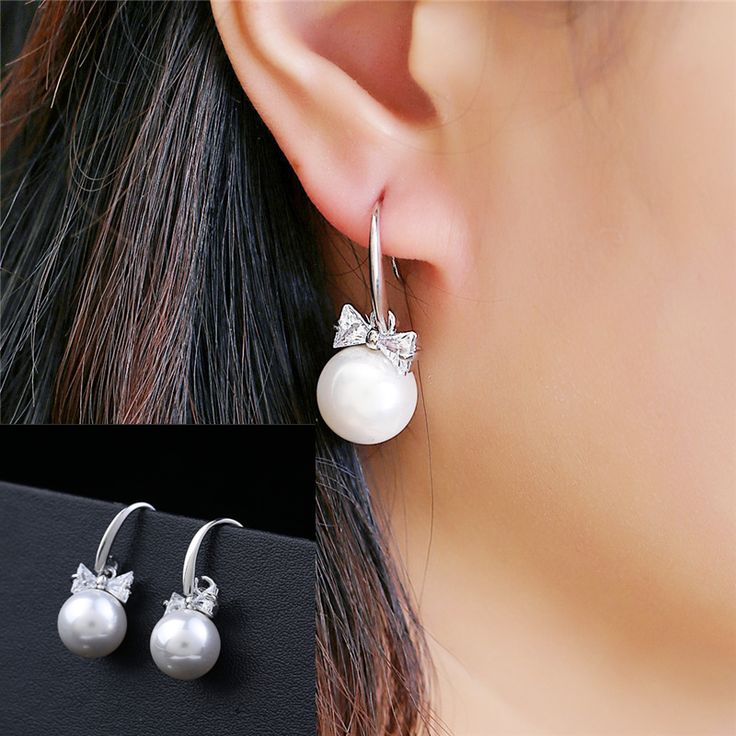 2016 New FashionCubic Zirconia Bow Earrings Pendientes Silver High quality Pearl Jewelry Girls & Women Sliver Earrings wholesale
