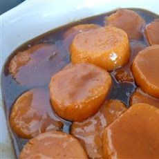 Sticky Gooey Candied Yams  6 yams 1/3 cup dark Karo syrup 1/2 cup brown sugar 1/4 cup water 1/4 lbs butter (my grandma always added white sugar & vanilla too) Boil yams until 3/4 cooked. Cool & peel. Cut in half lengthwise & brown in a skillet with butter until slightly burnt. Set them single layer into baking dish. In the skillet put the butter, sugar, Karo & water. Cook & stir while bubbly for 4-5 min or until when it cools its syrupy. Pour over yams & bake @ 350-375