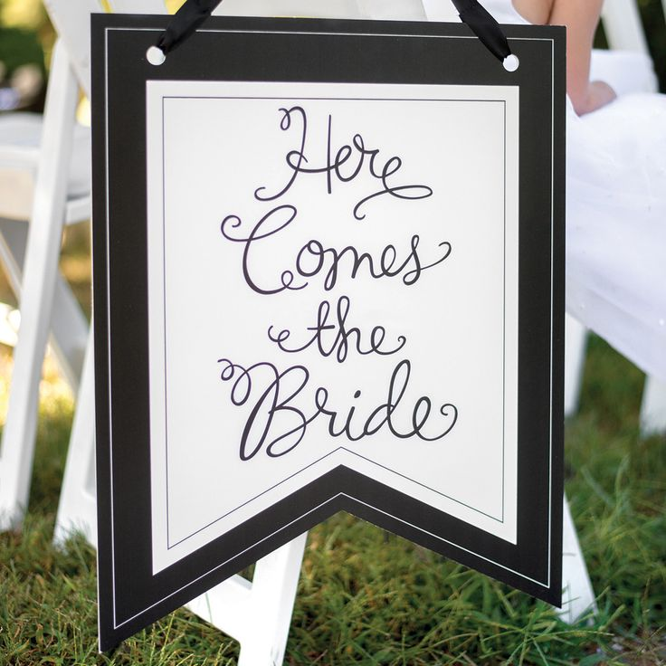 Spectacular  Here Comes the Bride Wedding Ceremony Pennant Sign