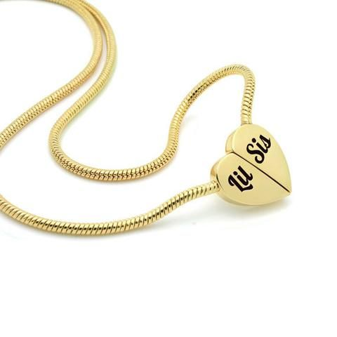Gold Heart Little Sister Necklace on Magnet Connectors Engraved with