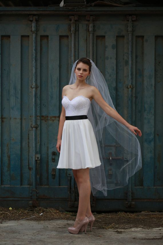 short dress long veil short wedding dress with a longer