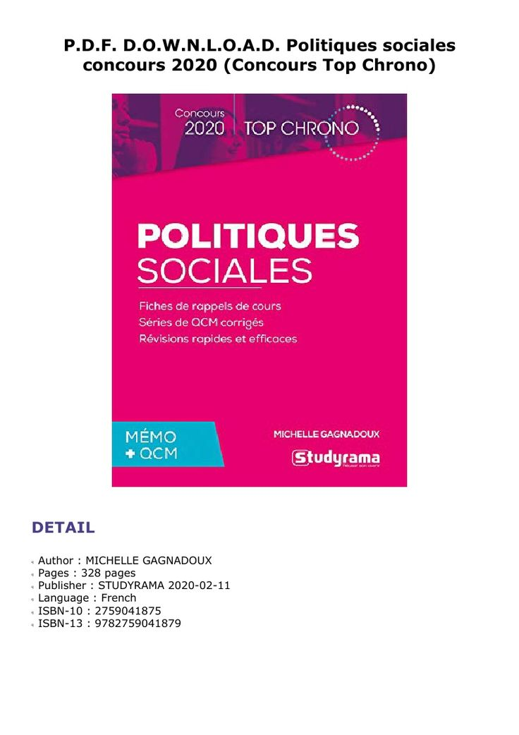 P D F D O W N L O A D Politiques Sociales Concours 2020 Concours