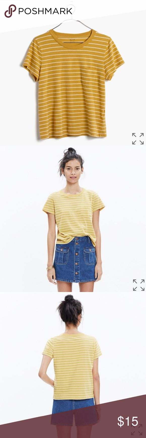 Madewell Radio Tee in Largo Stripe Madewell yellow & white striped tee size small. Cropped & form fitting. Adorable in the summer with high waisted jean shorts or in the winter layered! Madewell Tops Tees - Short Sleeve