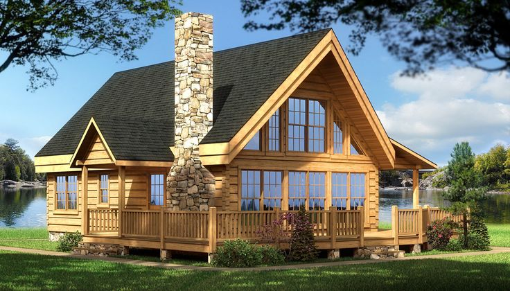 Log cabin house plans | Rockbridge - Log Home / Cabin Plans back deck and place for upper deck