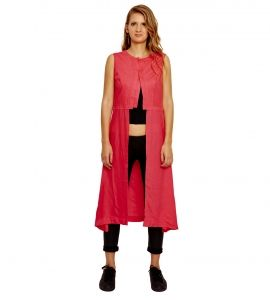 Jalebe trendy pink tunic with single slit for women INDTJBS001