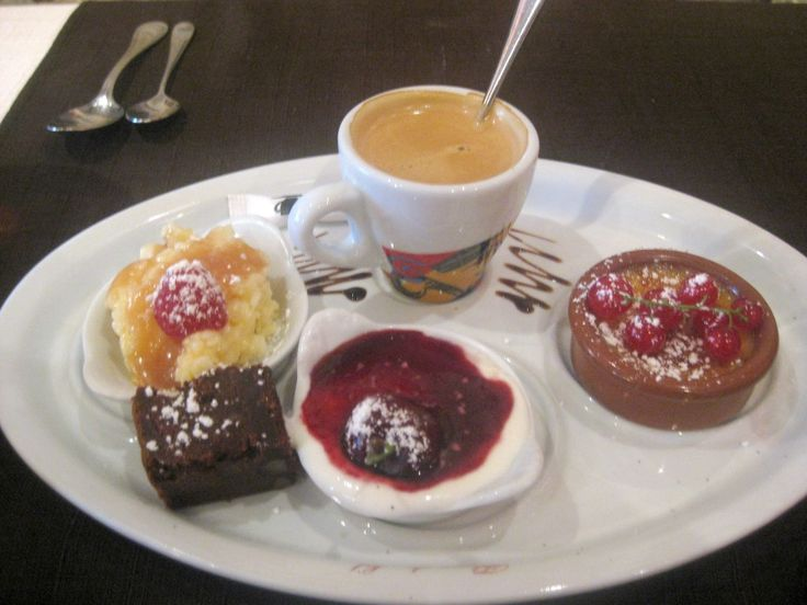 "The ""It"" Dessert in France right now: Cafe Gourmand."