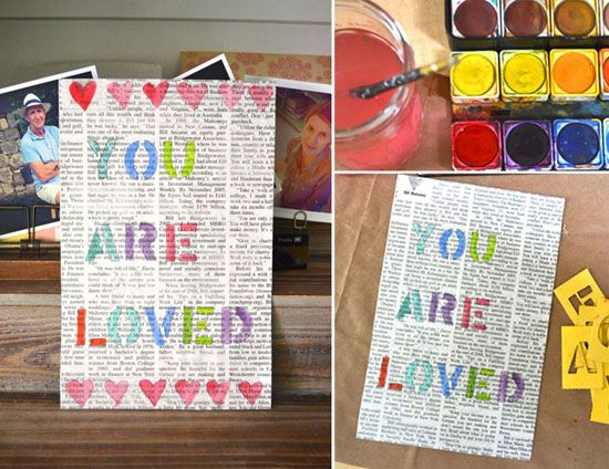 DIY Stencil Art Project with the kids for Father's Day - You Are Loved! SmallforBig.com #diy #art #kids #gift