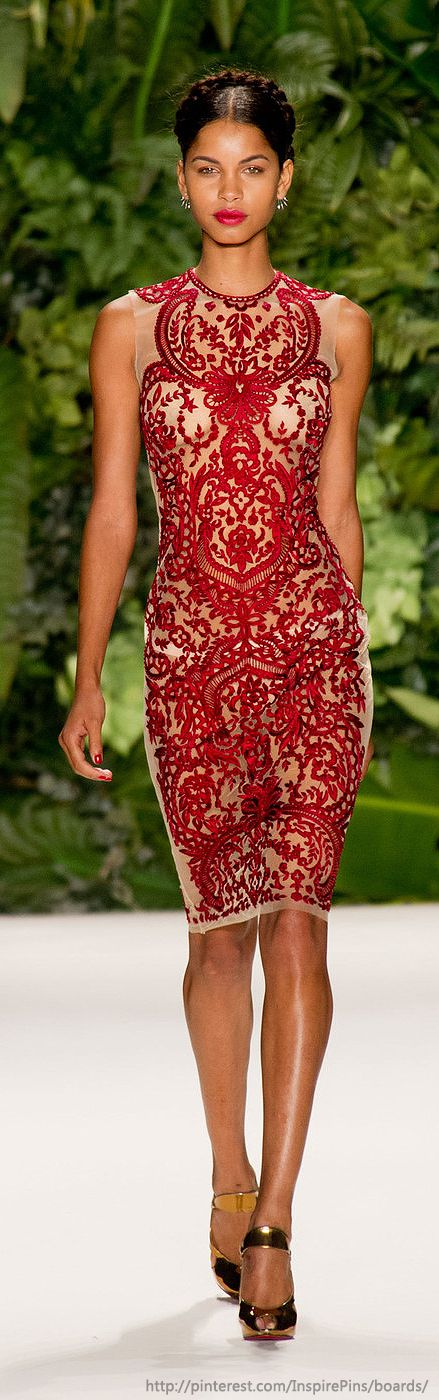 Spring 2014 RTW Naeem Khan Collection in red lace