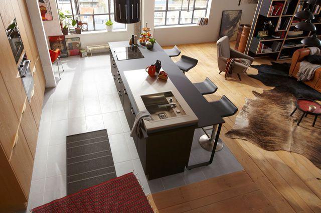 ilot cuisine carrelage parquet | Implantation cuisine type idéal : tout sur les cuisine en L, U, I ...