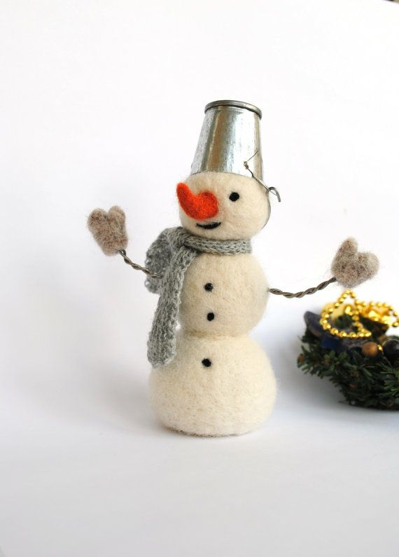 Felt snowman Christmas ornament Needle felted snowmen Christmas Holiday decor