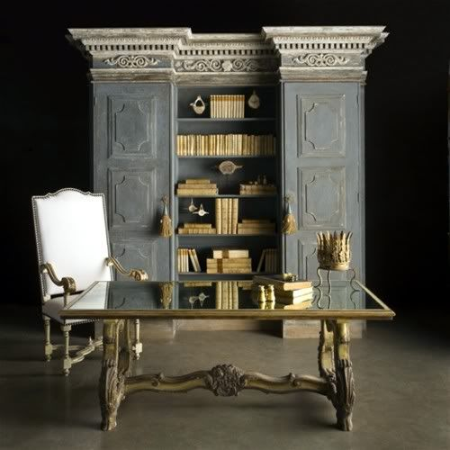 Love this table and chair. The bookshelves and cabinets