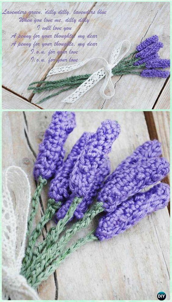 Crochet Lavender Flower Free Pattern- #Crochet; 3D Flower Bouquet Free Pattern