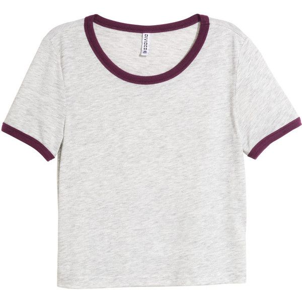 H&M Crop top ($11) ❤ liked on Polyvore featuring tops, t-shirts, grey, crop top, grey t shirt, h&m t-shirts, gray crop top und h&m tops