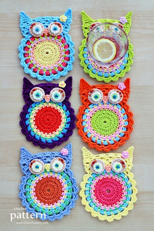 crochet owl coasters pattern                                                                                                                                                                                 More