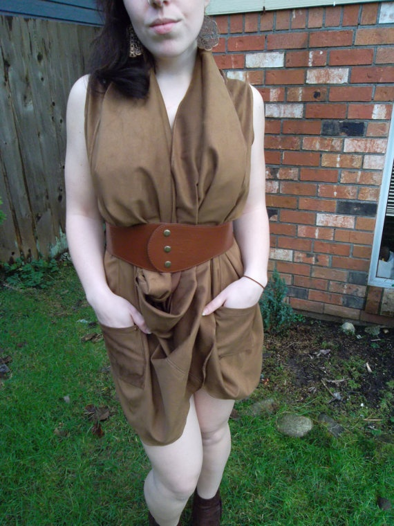 Brown Faux Suede Dress Wraps and Twists Around Neck