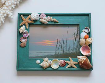 "Seashell Photo Frame, Shell Picture Frame, Beach Decor, Beach Frame, Nautical Decor, 5""x7"" Frame, Coastal Decor, Shabby Chic, Beach House"