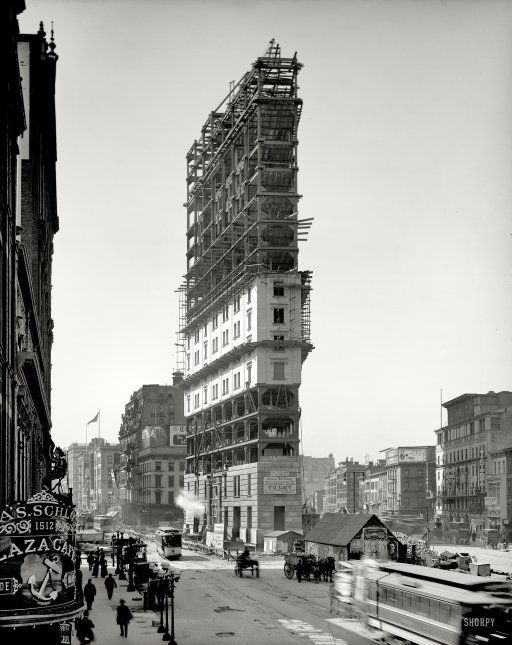 New York, 1903, New York Times Building under construction in soon-to-be named Times Square.