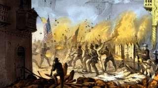 Image copyright                  Getty Images                  Image caption                                      En 1846, voluntarios de Tennessee, Mississippi, Ohio y Texas pelearon en la Batalla de Monterrey, la cual duró tres días.                                Lo más probable es que los restos que México acaba de enviar a Estados Unidos fueran de 10 vo