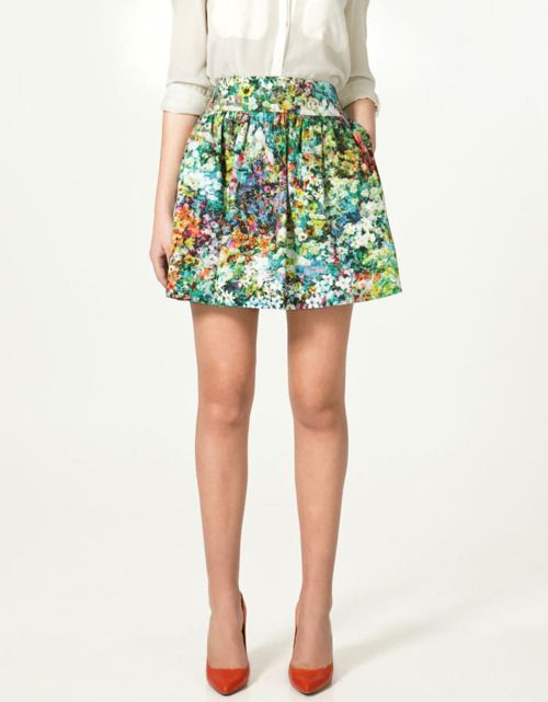 floral skirt, red shoes