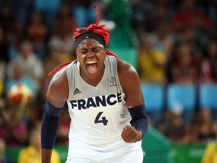 France center Isabelle Yacoubou (4) reacts after a play against USA during the women's basketball semifinals in the Rio 2016 Olympic Games at Carioca Arena 1.
