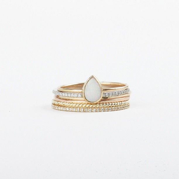 Opal Tear Drop Ring, Fairy Light Eternity Bands, Threadbares and a Twisted Stacker! (at Catbird)