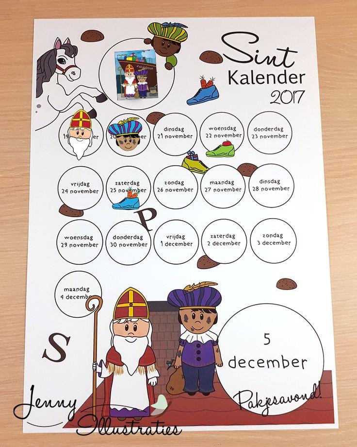 Deze leuke Sintkalender 2017 helpt de kinderen op een leuke manier overzicht te houden in een spannende tijd! Ze zien door het plakken van stickers wanneer ze hun schoen mogen zetten en wanneer het pakjesavond is. Dit is alweer het derde jaar dat deze populaire kalender te koop is. Nu nieuw met glossy stickers!  De kalender is A4 format, mat, zwaar papier. Je ontvangt een vel stickers met35 glossy verschillendeSint stickers (waaronder 8 schoentjes)