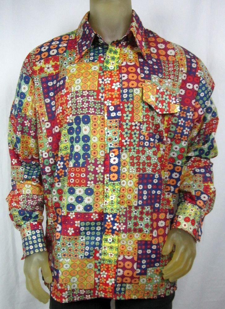 Psychedelic Mod Pop Vibrant Floral Patchwork Mens Hippie Shirt SKYR Nylon XL #SKYR #ButtonFront #Party